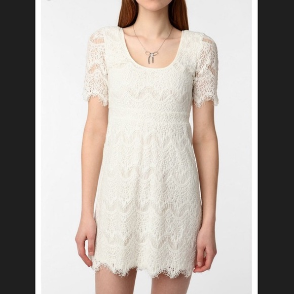 8a0ad9f1151a Pins & Needles Dresses | Urban Outfitters White Lace Fitted Dress Sz ...